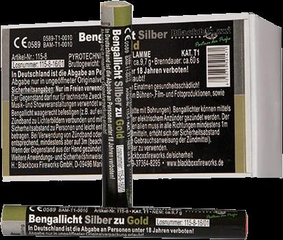 Blackboxx Bengallicht Silber zu Gold