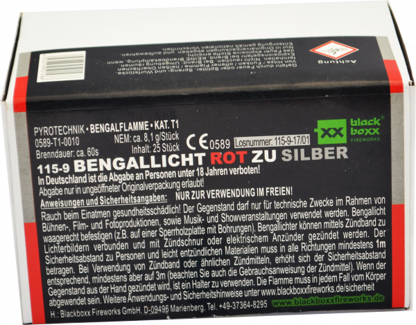 Blackboxx Bengallicht Rot zu Silber